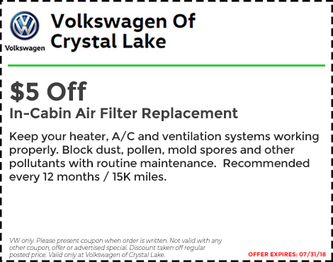 $5 Off In Cabin Air Filter Replacement