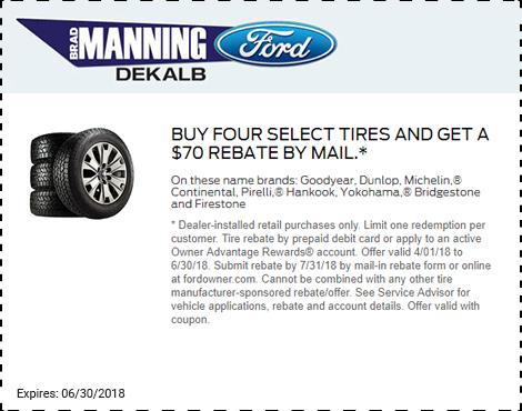 Buy Four Select Tires and Get a $70 Rebate by Mail